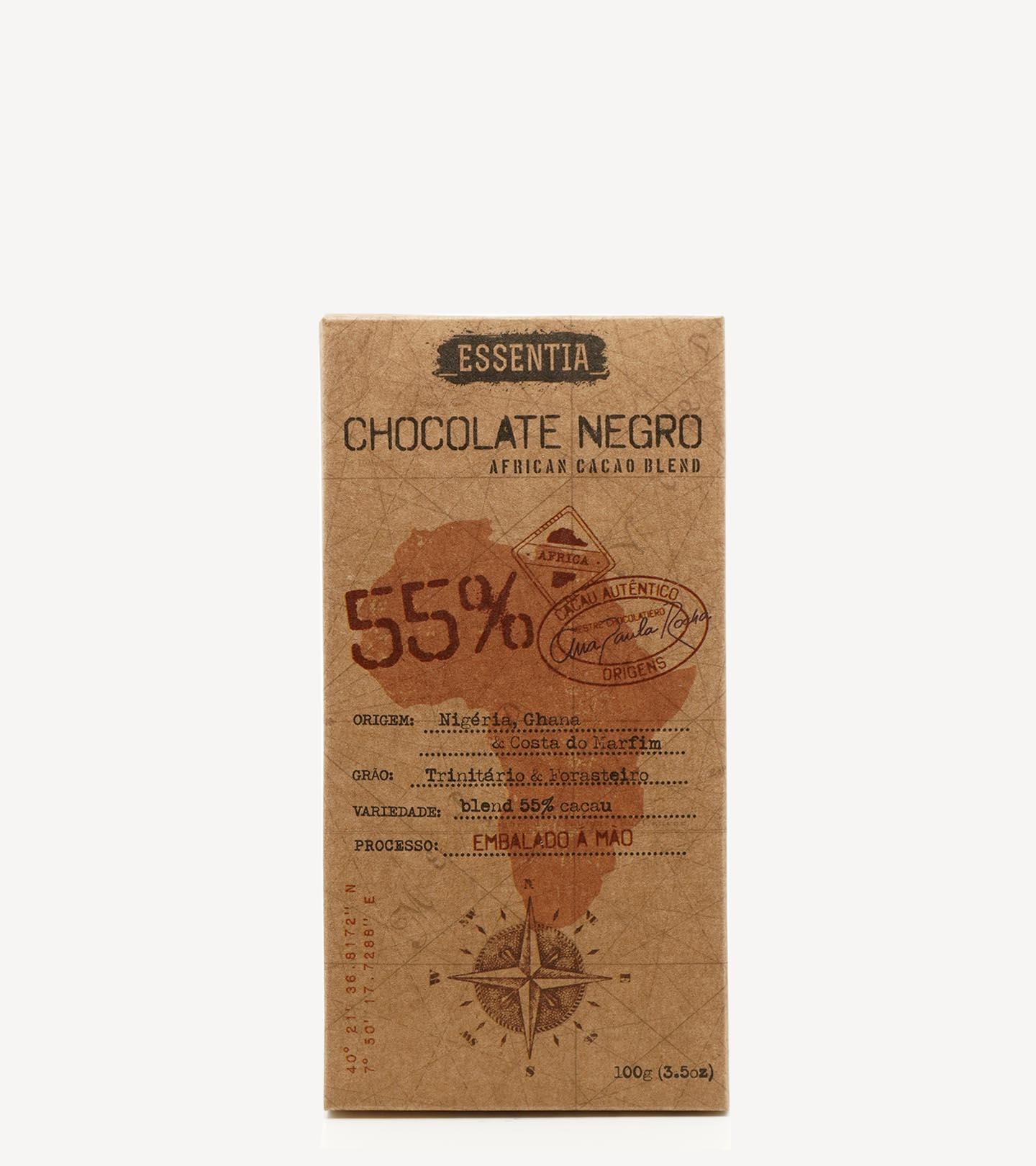 Tablete de Chocolate Negro Artesanal 55% Cacau Essentia 100g