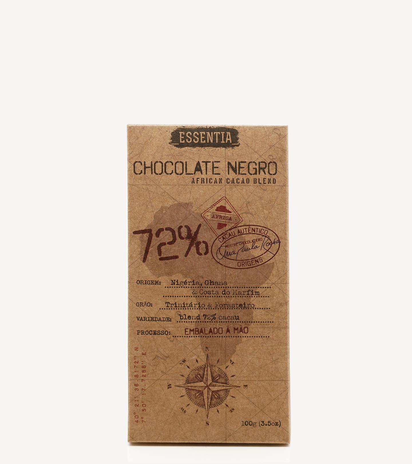 Tablete de Chocolate Negro Artesanal 72% Cacau Essentia 100g