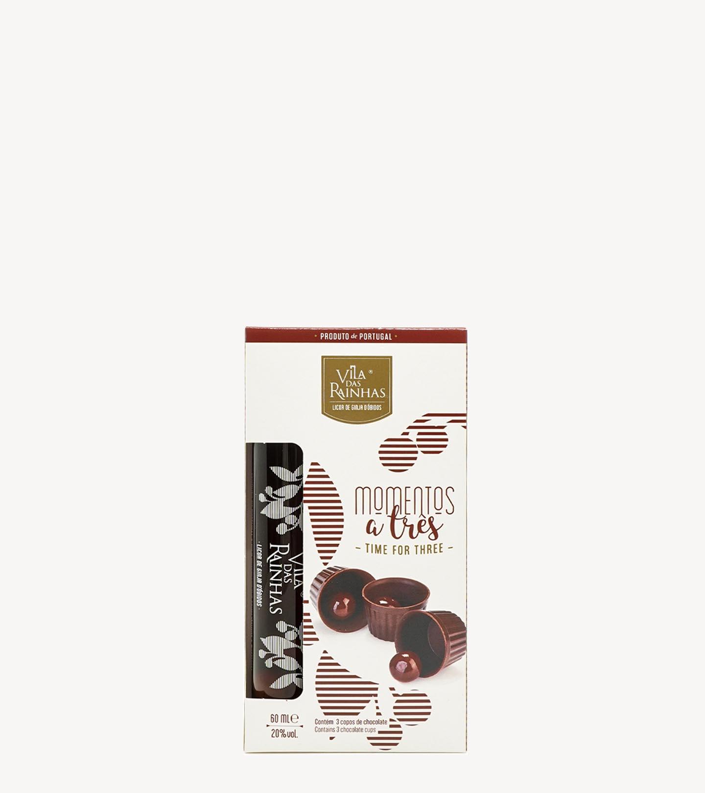 Gift Licor de Ginja c/ 3 Copos Chocolate Vila das Rainhas 6cl