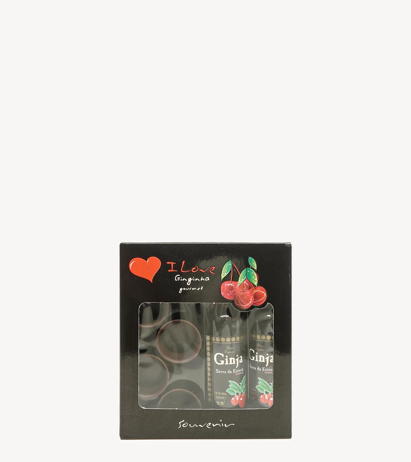 Gift c/ 2 garrafas de Licor Ginja Serra da Estrela c/ Copos de Chocolate 2x5cl