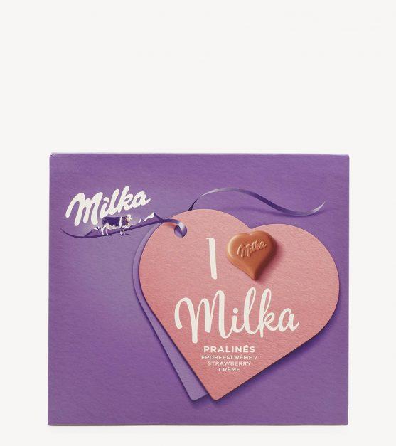 Bombons de Chocolate Pralinés Morango I Love Milka 110g