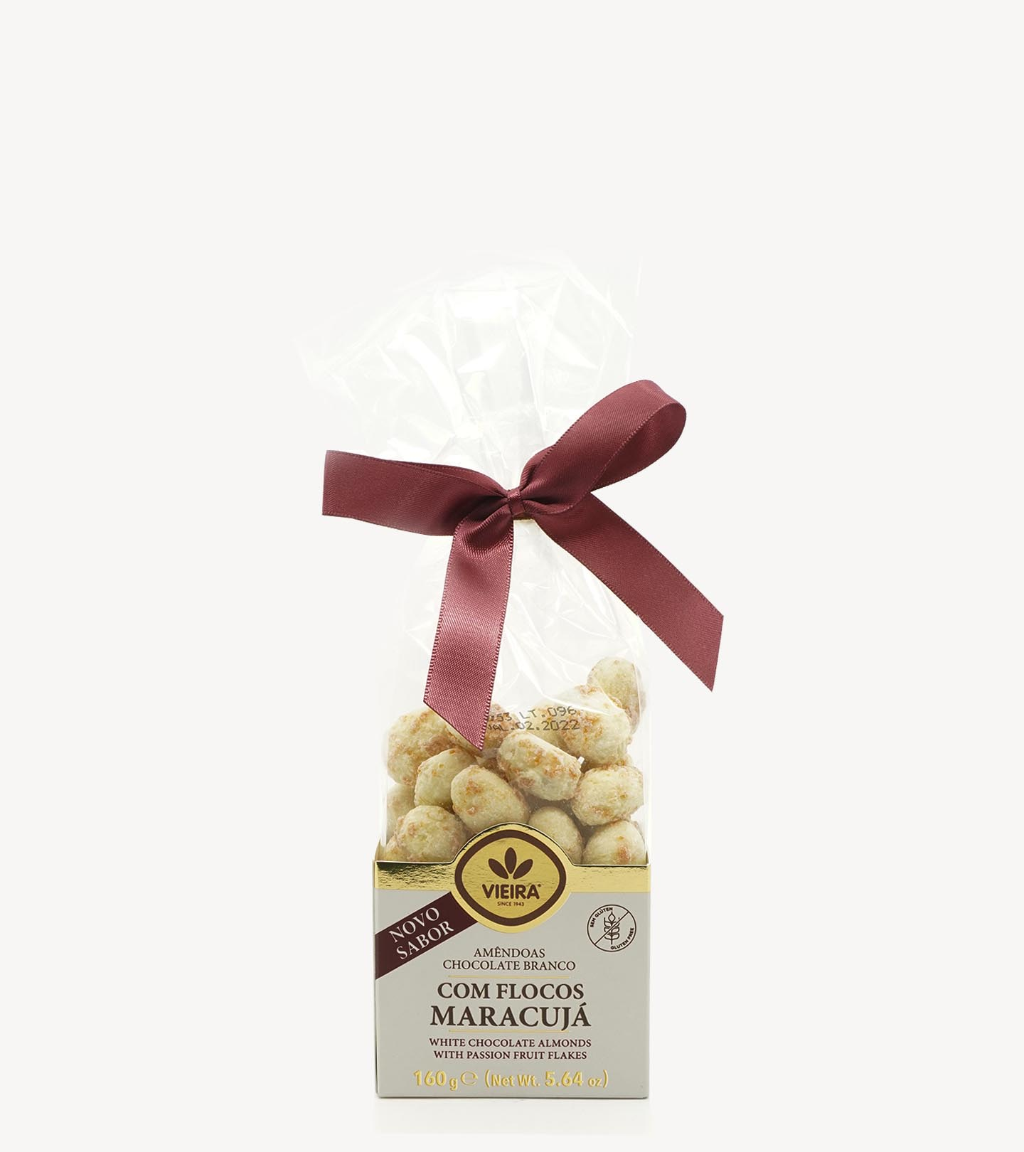 Amêndoas Chocolate Branco com Flocos de Maracuja Vieira 160